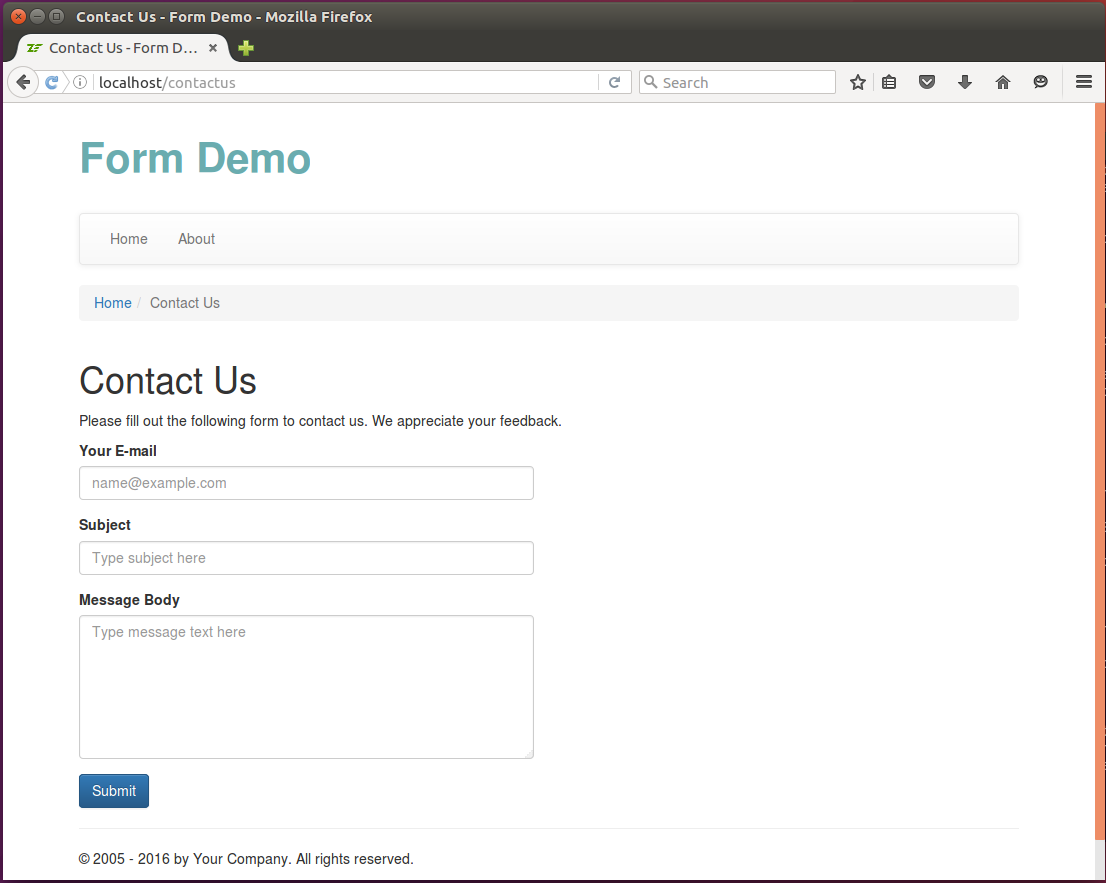 Example creating the view template for the contact form using contact form falaconquin